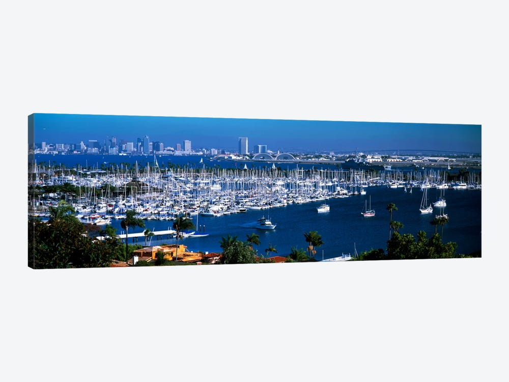 Boats moored at a harbor, San Diego, California, USA by Panoramic Images 1-piece Canvas Artwork