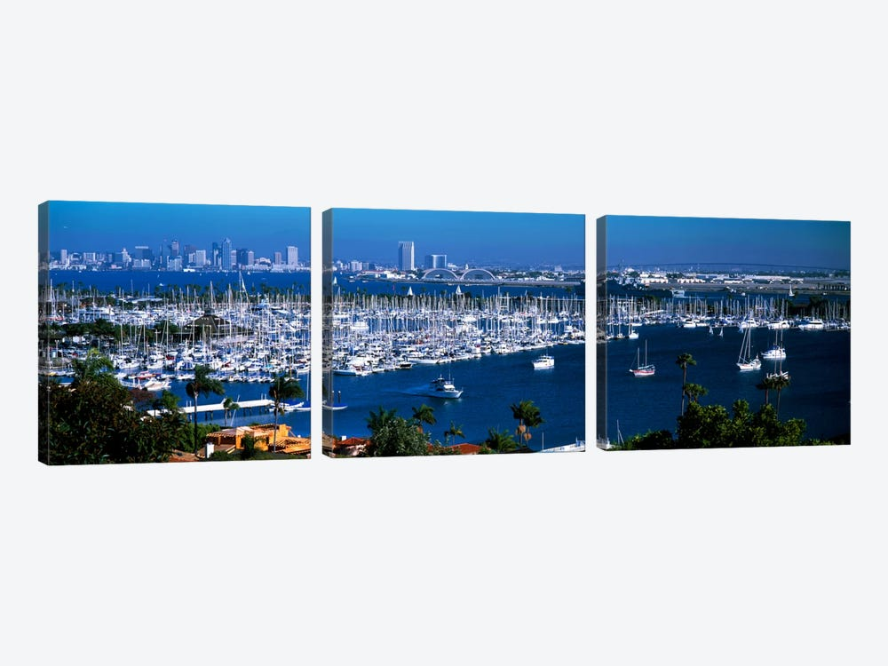 Boats moored at a harbor, San Diego, California, USA by Panoramic Images 3-piece Canvas Art