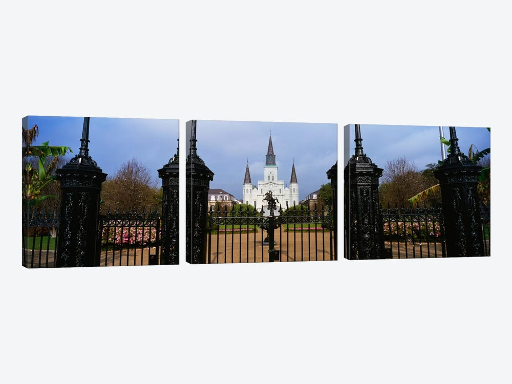 Facade of a church, St. Louis Cathedral, New Orleans, Louisiana, USA by Panoramic Images 3-piece Art Print