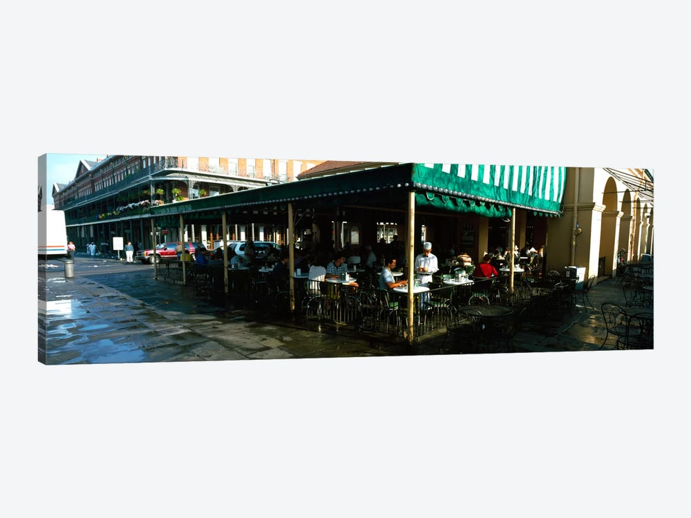 Tourists at a coffee shop, Cafe Du Monde, Decatur Street, French Quarter, New Orleans, Louisiana, USA by Panoramic Images 1-piece Canvas Artwork