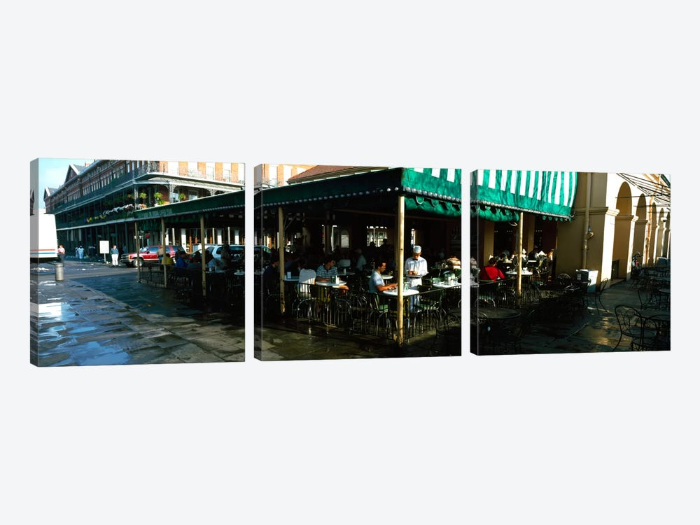 Tourists at a coffee shop, Cafe Du Monde, Decatur Street, French Quarter, New Orleans, Louisiana, USA by Panoramic Images 3-piece Canvas Wall Art
