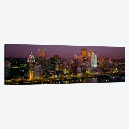 High angle view of buildings lit up at night, Pittsburgh, Pennsylvania, USA Canvas Print #PIM228} by Panoramic Images Canvas Artwork
