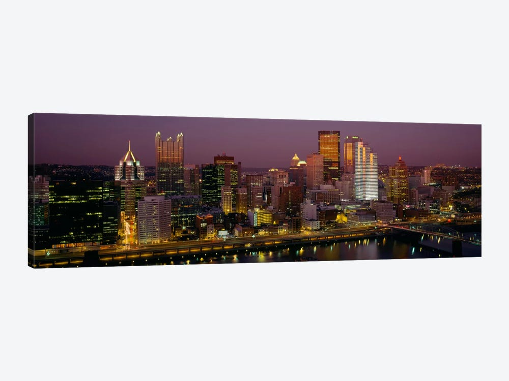 High angle view of buildings lit up at night, Pittsburgh, Pennsylvania, USA by Panoramic Images 1-piece Canvas Art Print