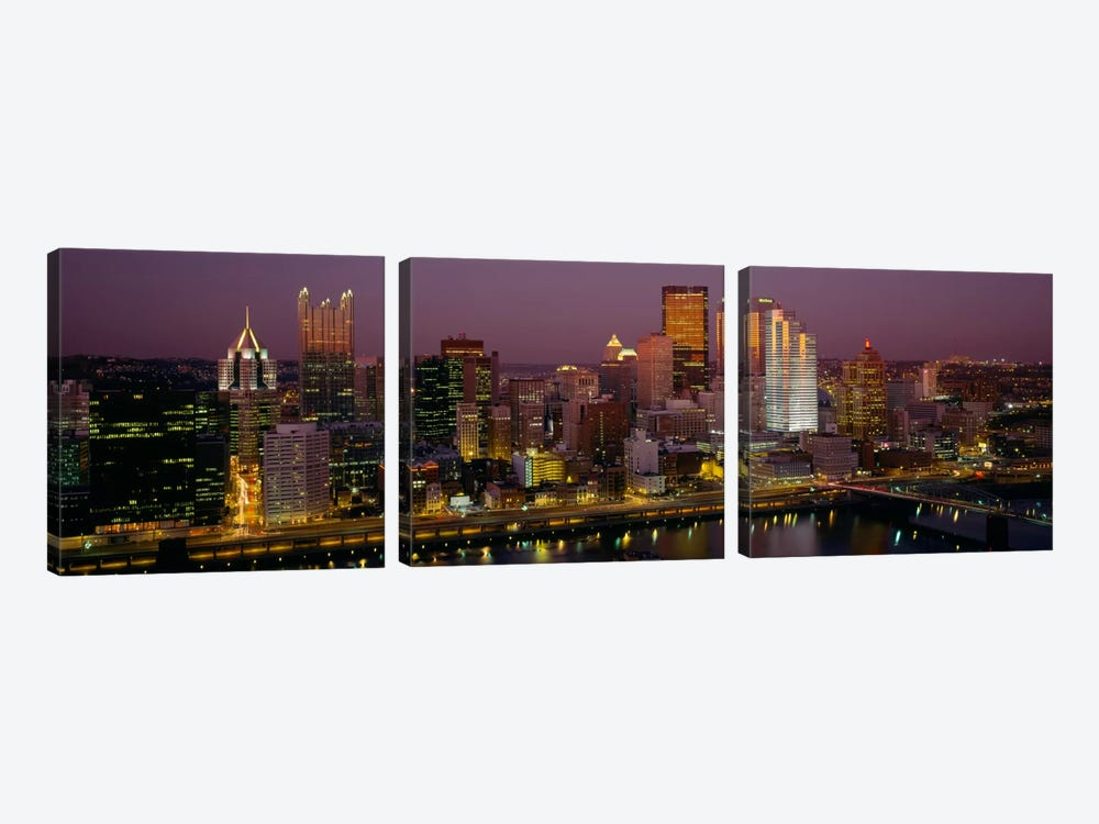 High angle view of buildings lit up at night, Pittsburgh, Pennsylvania, USA by Panoramic Images 3-piece Canvas Print
