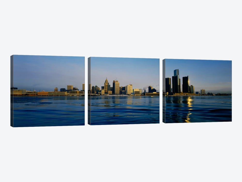 Buildings at the waterfront, Detroit, Michigan, USA #3 by Panoramic Images 3-piece Canvas Print
