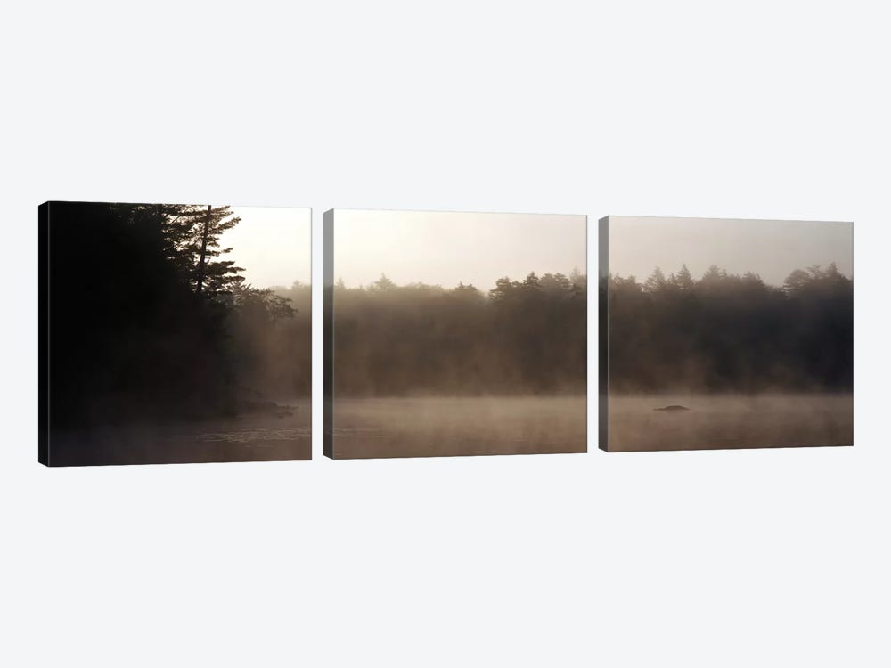 Morning Mist Adirondack State Park Old Forge NY USA by Panoramic Images 3-piece Canvas Wall Art