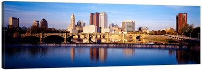 Bridge across a river, Scioto River, Columbus, Ohio, USA Canvas Art Print