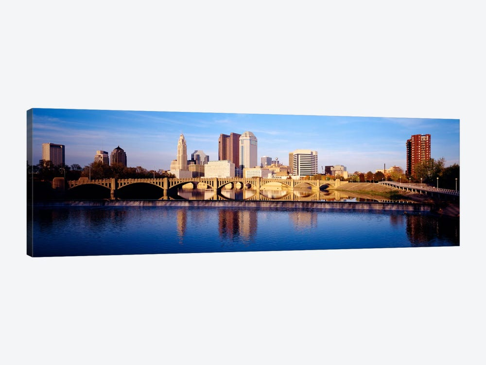 Bridge across a river, Scioto River, Columbus, Ohio, USA by Panoramic Images 1-piece Canvas Wall Art