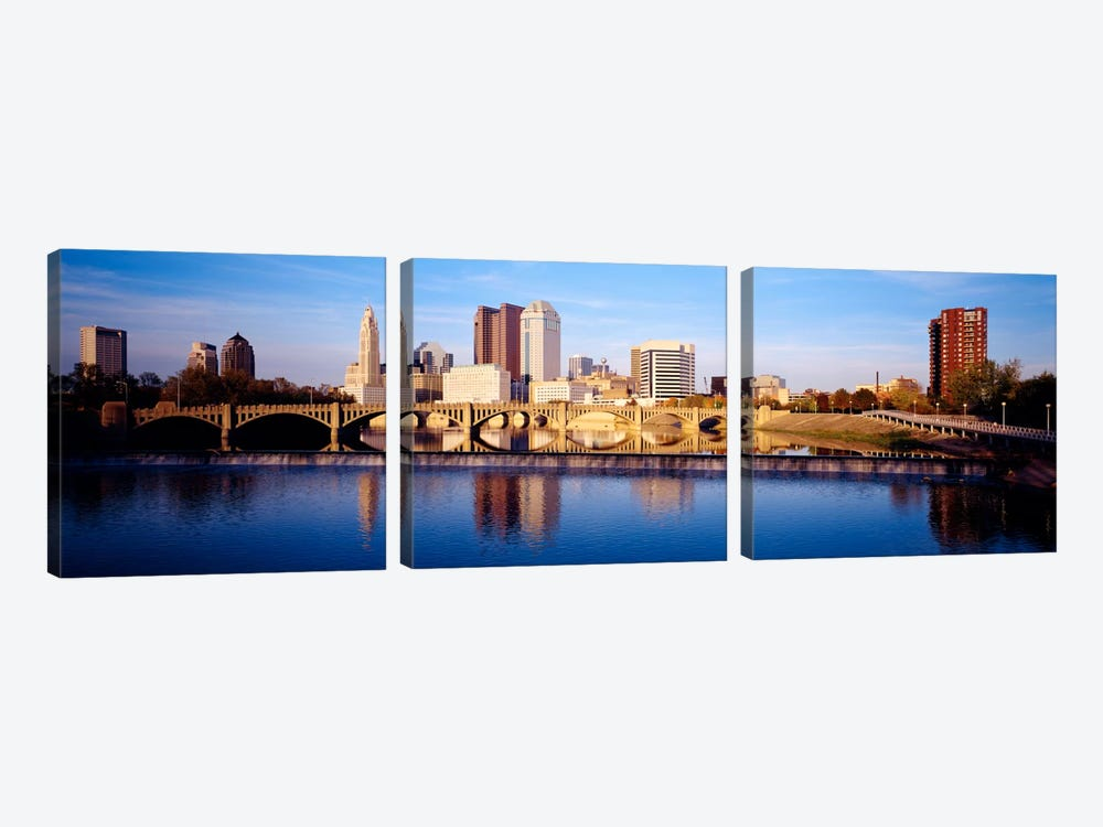 Bridge across a river, Scioto River, Columbus, Ohio, USA by Panoramic Images 3-piece Canvas Artwork