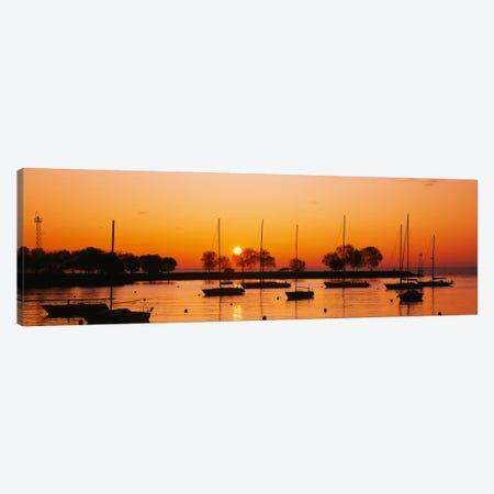Silhouette of sailboats in a lake, Lake Michigan, Chicago, Illinois, USA Canvas Print #PIM229} by Panoramic Images Canvas Wall Art