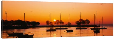 Silhouette of sailboats in a lake, Lake Michigan, Chicago, Illinois, USA Canvas Art Print