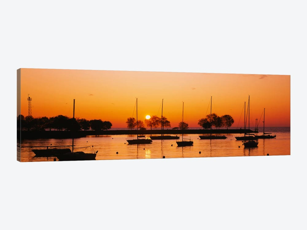 Silhouette of sailboats in a lake, Lake Michigan, Chicago, Illinois, USA by Panoramic Images 1-piece Canvas Artwork