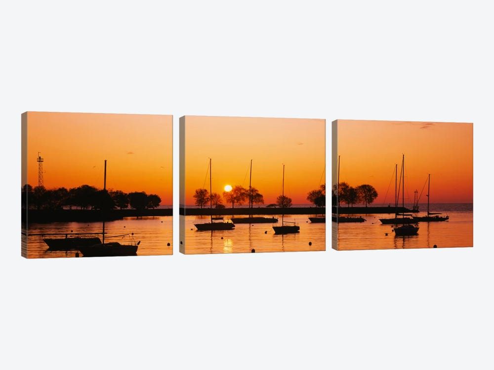 Silhouette of sailboats in a lake, Lake Michigan, Chicago, Illinois, USA by Panoramic Images 3-piece Canvas Artwork