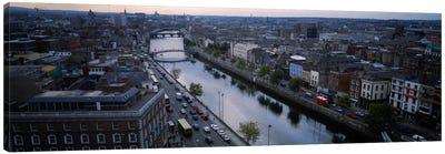 Aerial View Of River Liffey, Dublin, Leinster Province, Republic Of Ireland Canvas Print #PIM2300