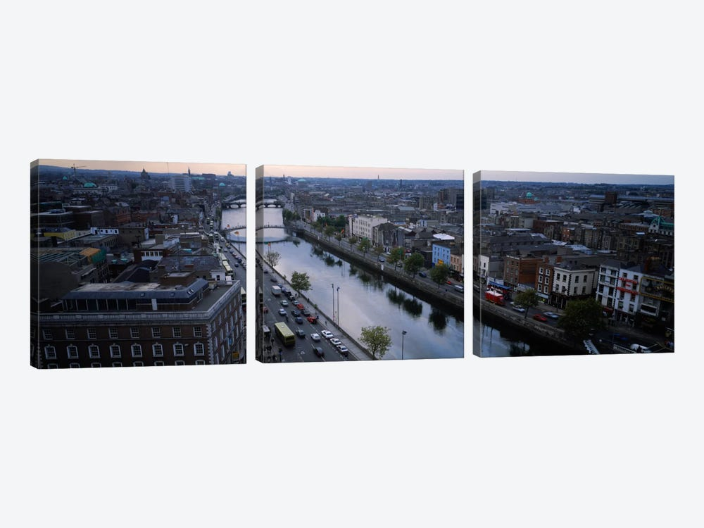 Aerial View Of River Liffey, Dublin, Leinster Province, Republic Of Ireland by Panoramic Images 3-piece Canvas Artwork