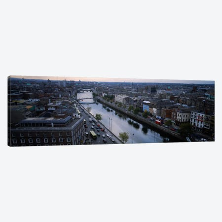 Aerial View Of River Liffey, Dublin, Leinster Province, Republic Of Ireland 3-Piece Canvas #PIM2300} by Panoramic Images Canvas Wall Art
