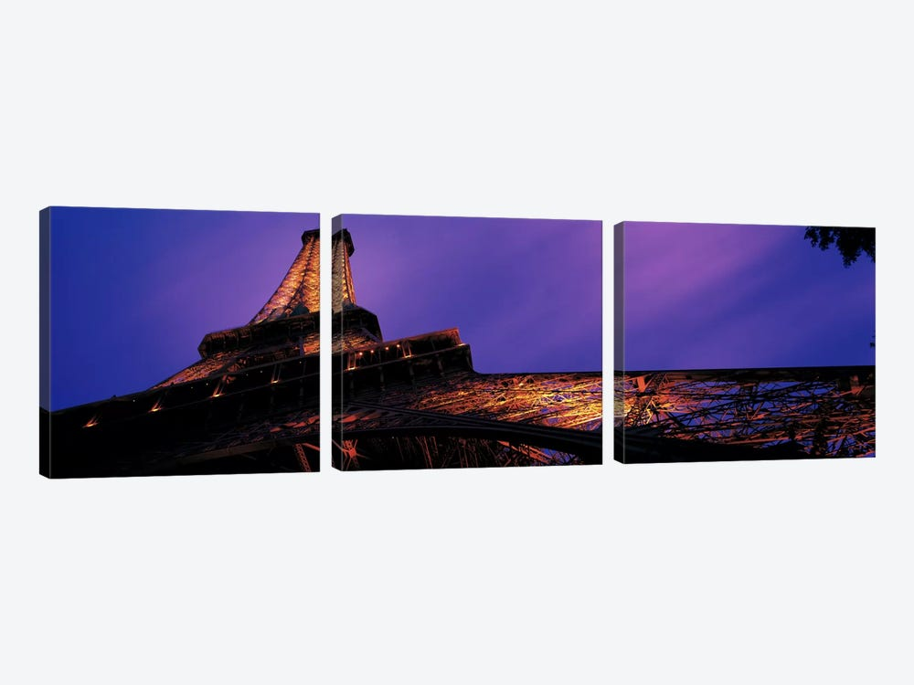 Dusk Eiffel Tower Paris France by Panoramic Images 3-piece Art Print