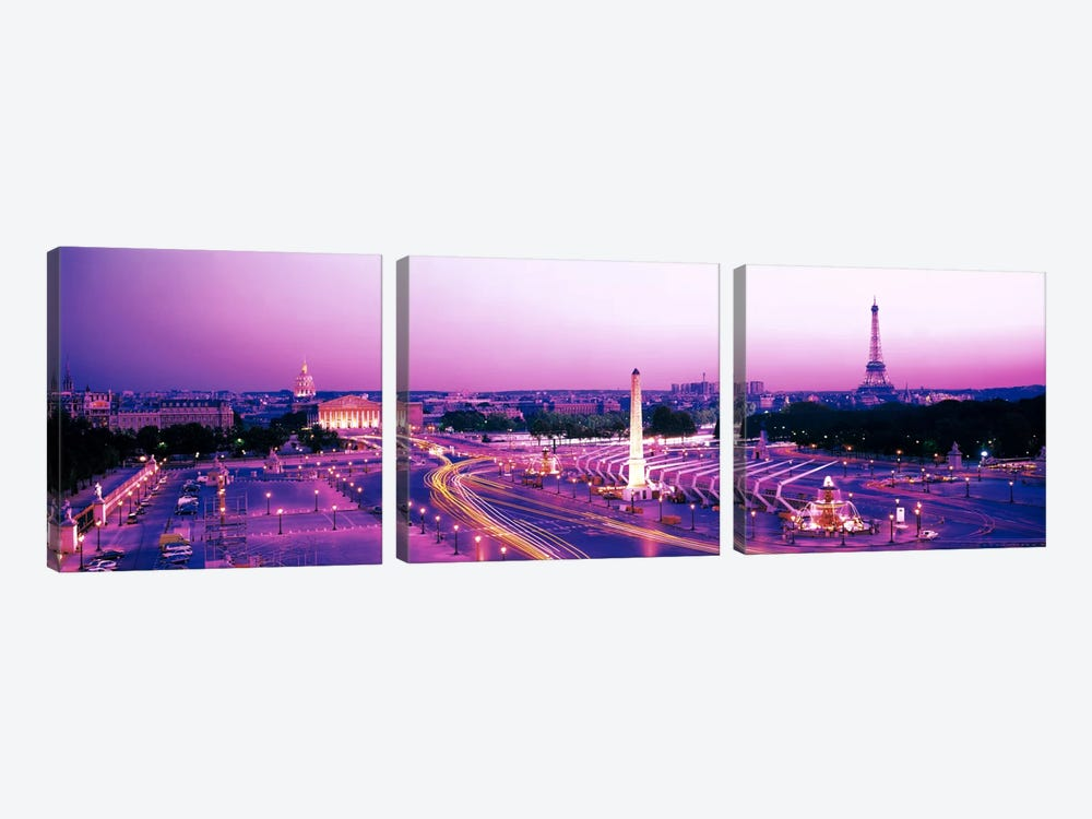 Dusk Place de la Concorde Paris France by Panoramic Images 3-piece Canvas Artwork