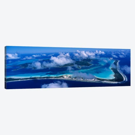 Cloudy Aerial View, Bora Bora, Leeward Islands, Society Islands, French Polynesia Canvas Print #PIM2307} by Panoramic Images Art Print