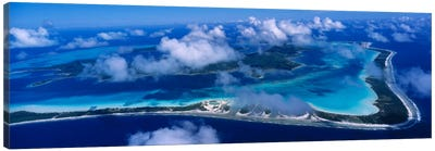 Cloudy Aerial View, Bora Bora, Leeward Islands, Society Islands, French Polynesia Canvas Art Print