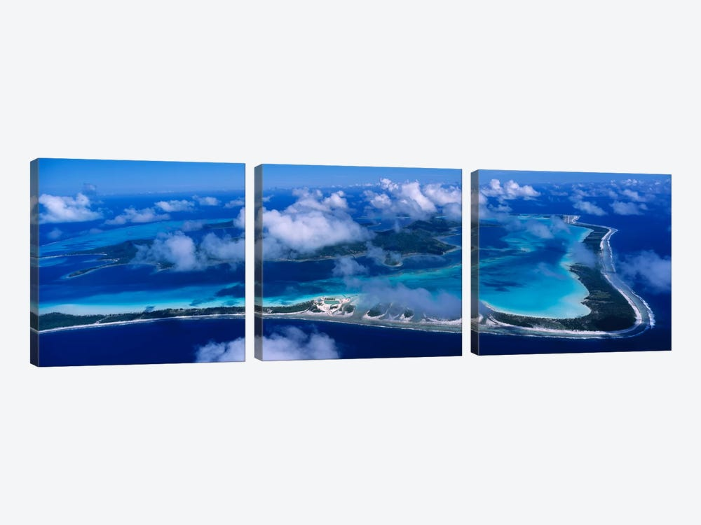 Cloudy Aerial View, Bora Bora, Leeward Islands, Society Islands, French Polynesia by Panoramic Images 3-piece Art Print