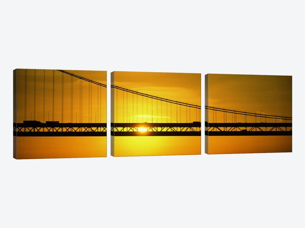 Sunrise Bay Bridge San Francisco CA USA by Panoramic Images 3-piece Canvas Artwork