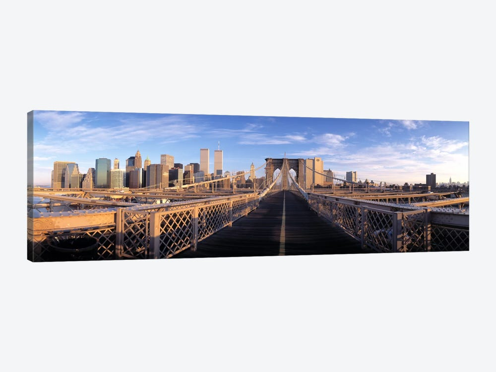 Pedestrian Walkway Brooklyn Bridge New York NY USA 1-piece Canvas Print