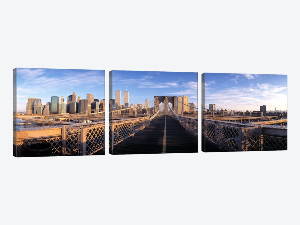 Pedestrian Walkway Brooklyn Bridge New York NY USA by Panoramic Images 3-piece Art Print