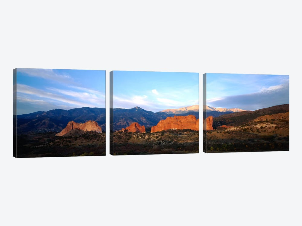 Rock formations on a landscapeGarden of The Gods, Colorado Springs, Colorado, USA by Panoramic Images 3-piece Canvas Wall Art