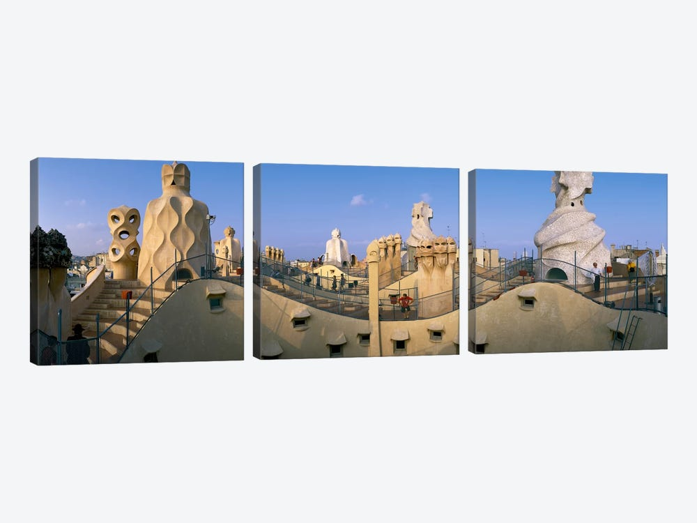 Casa Mila Barcelona Spain by Panoramic Images 3-piece Canvas Art