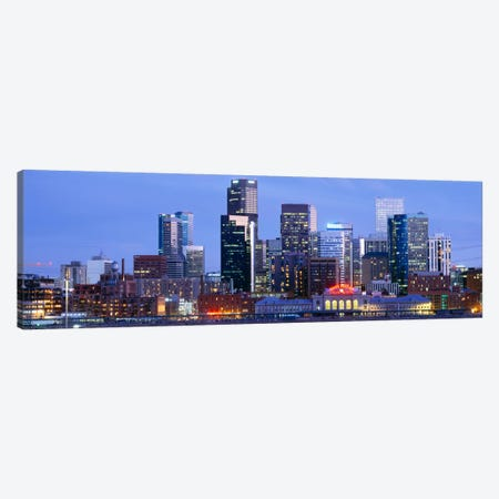 Buildings lit up at duskDenver, Colorado, USA Canvas Print #PIM2318} by Panoramic Images Canvas Art Print