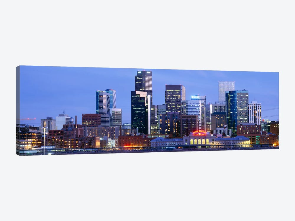Buildings lit up at duskDenver, Colorado, USA by Panoramic Images 1-piece Canvas Art Print