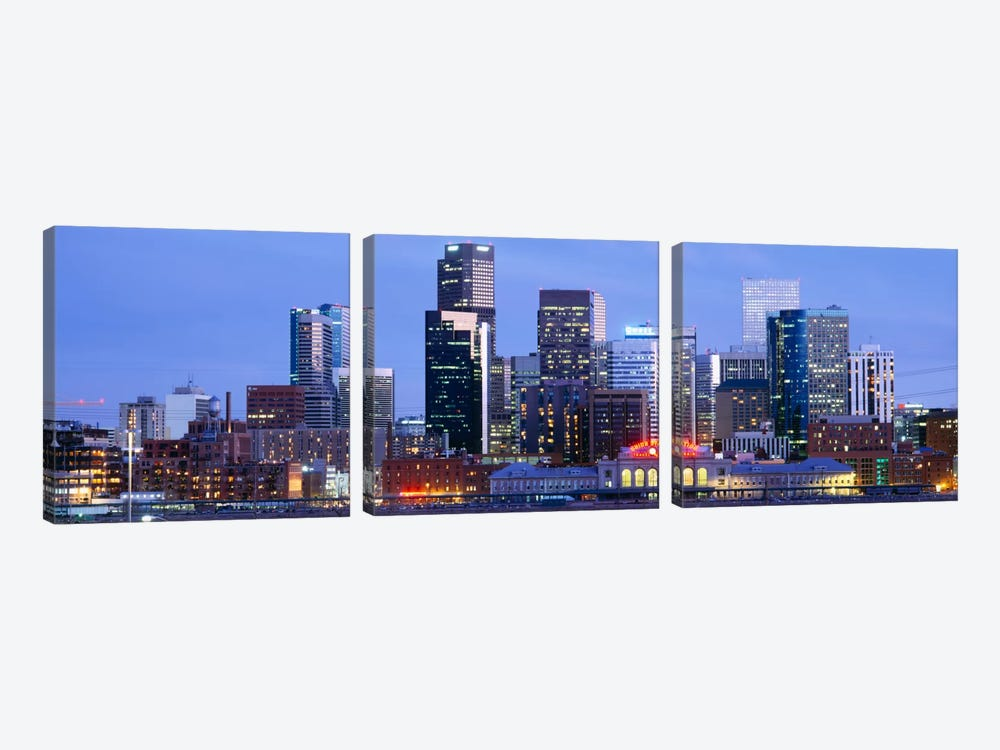 Buildings lit up at duskDenver, Colorado, USA by Panoramic Images 3-piece Canvas Art Print