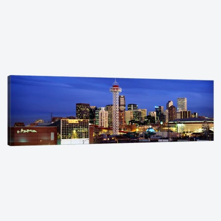 Buildings lit up at duskDenver, Colorado, USA Canvas Print #PIM2319} by Panoramic Images Canvas Print
