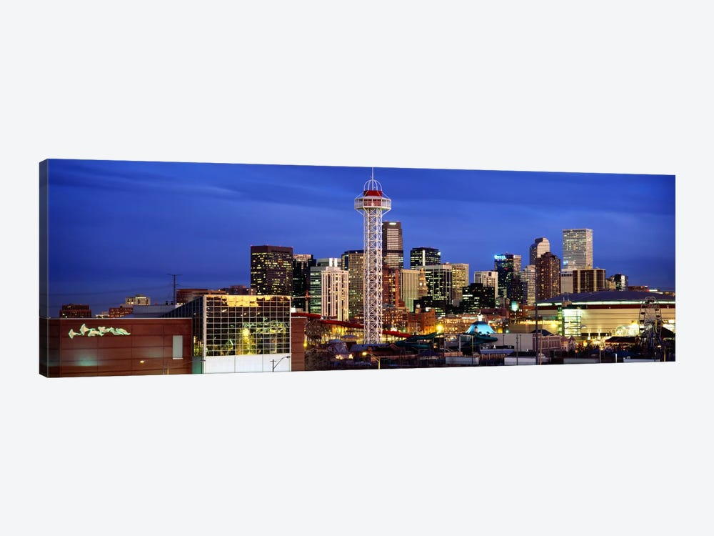 Buildings lit up at duskDenver, Colorado, USA by Panoramic Images 1-piece Canvas Art