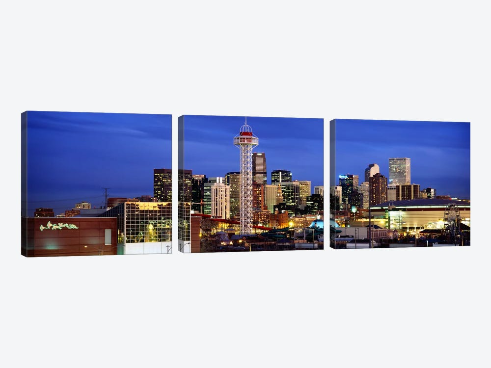 Buildings lit up at duskDenver, Colorado, USA by Panoramic Images 3-piece Canvas Wall Art