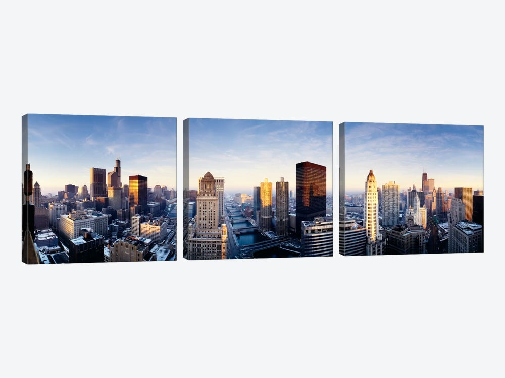 Downtown Skyline II, Chicago, Illinois, USA by Panoramic Images 3-piece Canvas Print