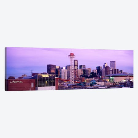 Building lit up at dusk, Denver, Colorado, USA Canvas Print #PIM2321} by Panoramic Images Canvas Art