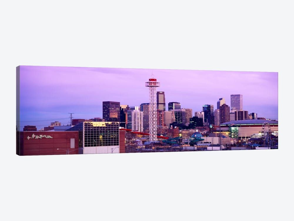 Building lit up at dusk, Denver, Colorado, USA by Panoramic Images 1-piece Art Print