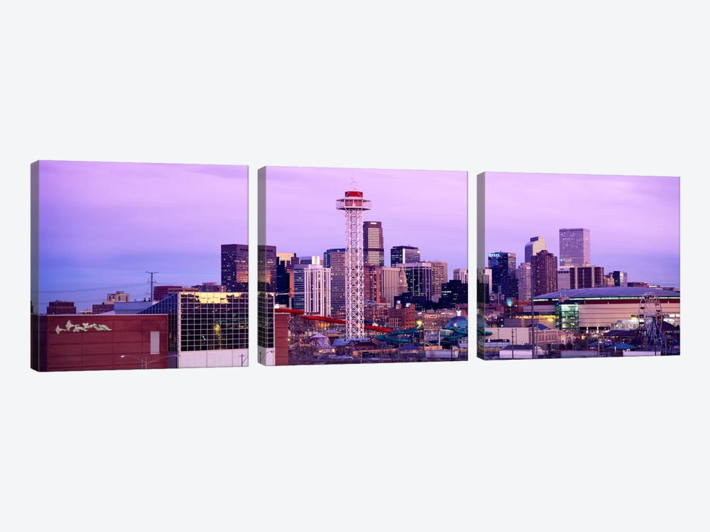 Building lit up at dusk, Denver, Colorado, USA by Panoramic Images 3-piece Canvas Print