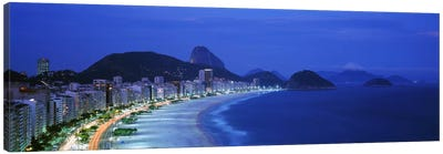 Copacabana & Sugarloaf Mountain At Night, Rio de Janeiro, Brazil Canvas Art Print