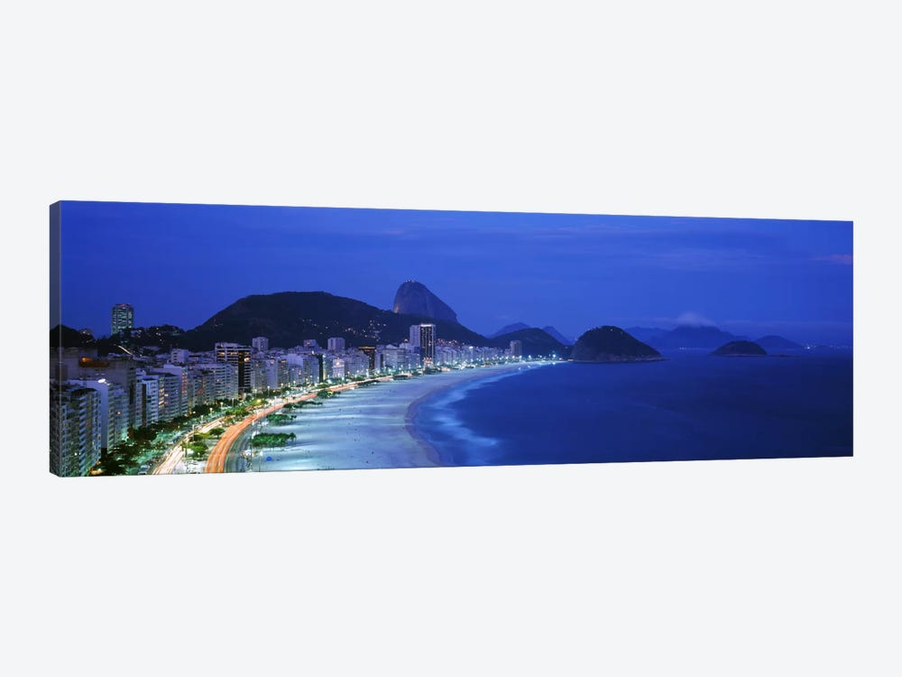 Copacabana & Sugarloaf Mountain At Night, Rio de Janeiro, Brazil by Panoramic Images 1-piece Canvas Artwork