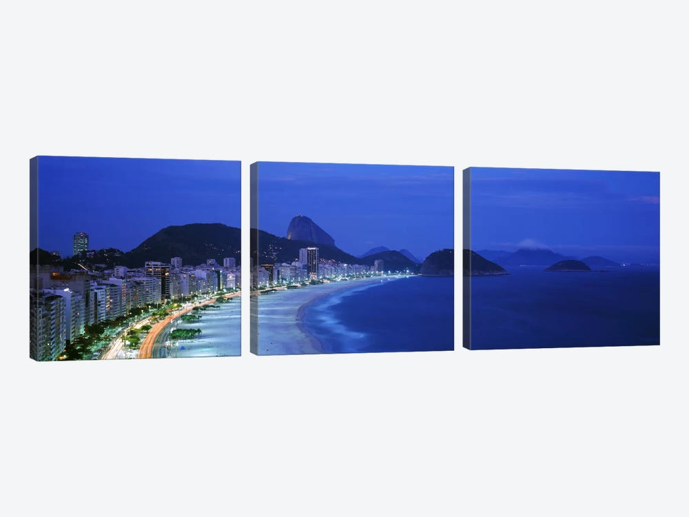 Copacabana & Sugarloaf Mountain At Night, Rio de Janeiro, Brazil by Panoramic Images 3-piece Canvas Artwork