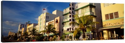 Facade of a hotel, Art Deco Hotel, Ocean Drive, Miami Beach, Florida, USA Canvas Art Print