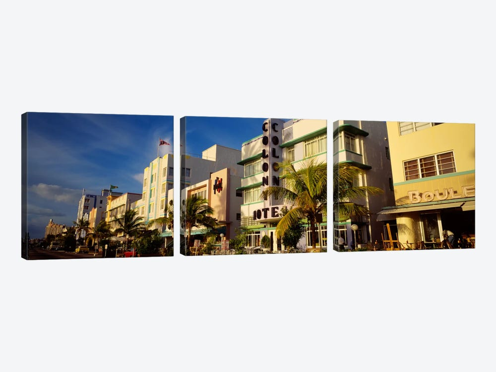 Facade of a hotel, Art Deco Hotel, Ocean Drive, Miami Beach, Florida, USA by Panoramic Images 3-piece Canvas Artwork