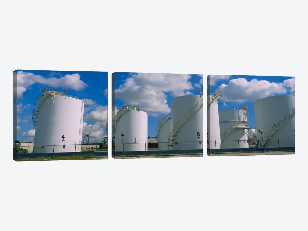 Storage tanks in a factory, Miami, Florida, USA by Panoramic Images 3-piece Canvas Print