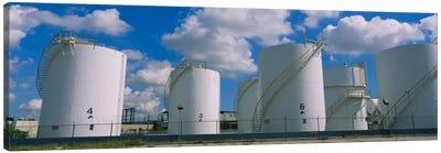 Storage tanks in a factory, Miami, Florida, USA Canvas Art Print