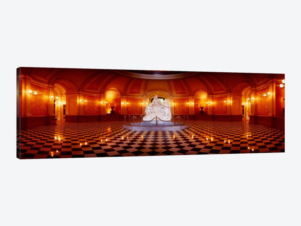 Statue surrounded by a railing in a building, California State Capitol Building, Sacramento, California, USA by Panoramic Images 1-piece Canvas Art