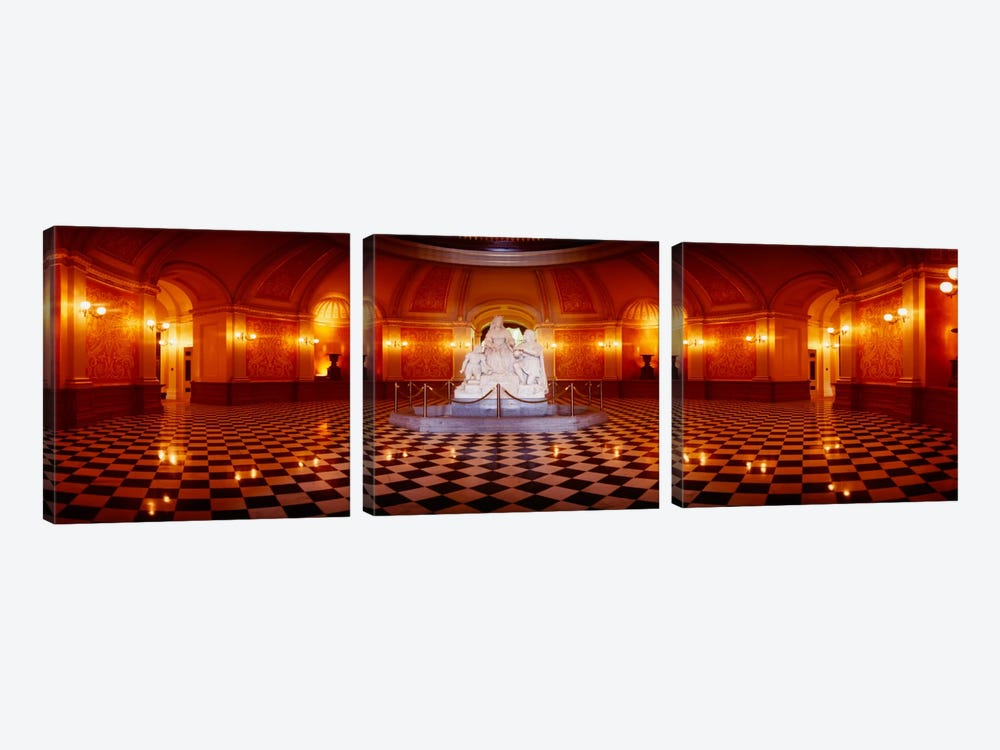 Statue surrounded by a railing in a building, California State Capitol Building, Sacramento, California, USA by Panoramic Images 3-piece Canvas Artwork