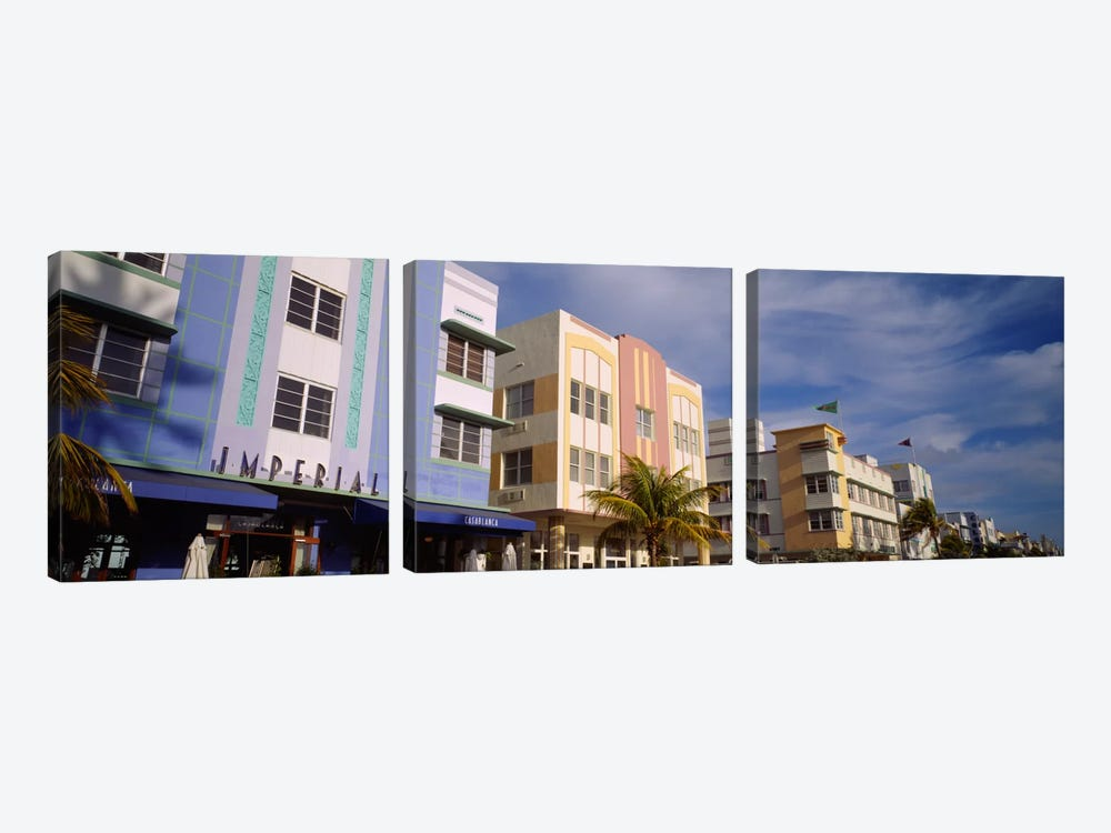 Facade of a hotel, Art Deco Hotel, Ocean Drive, Miami Beach, Florida, USA #2 by Panoramic Images 3-piece Canvas Art Print